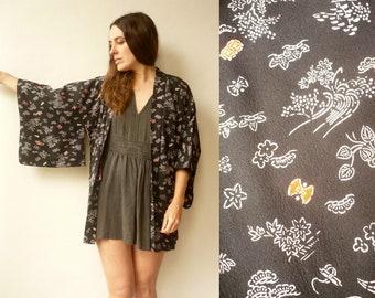 Vintage Black Novelty Print Japanese Kimono Duster Jacket Haori