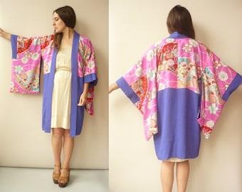 Vintage Reversible Floral Pattern Japanese Kimono Duster Jacket Haori