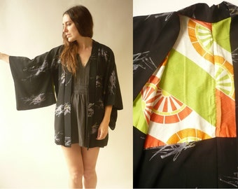 392b8a41d5 Vintage Black Crepe Japanese Kimono Duster Jacket Haori With A Glittery  Pattern