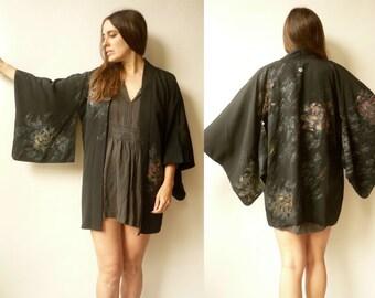 Vintage Black Silk Japanese Kimono Duster Jacket Haori With A Glittery Floral Pattern