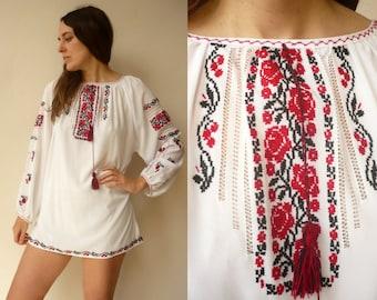Bohemian 90's Vintage Semi Sheer Embroidered Peasant Folk Blouse Shirt
