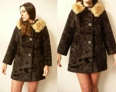 1960 39 s Vintage Black Cropped Faux Fur Princess Coat With Shearling Furry Collar Size S M