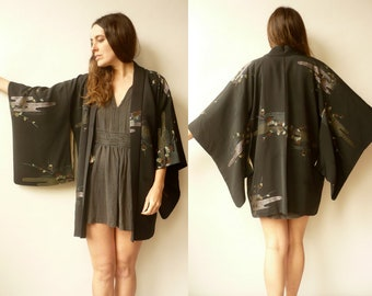 Vintage Black Silk Japanese Kimono Duster Jacket Haori With A Glittery Pattern