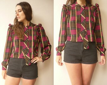 1990's Vintage Reworked Retro Check Cropped Ruffle Secretary Blouse Top