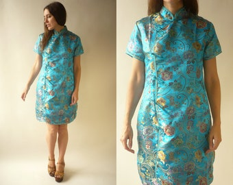 b3ddb7c0a9 Vintage Turquoise Cheongsam Chinese Satin Floral Pattern Mini Shift Dress  Size Medium