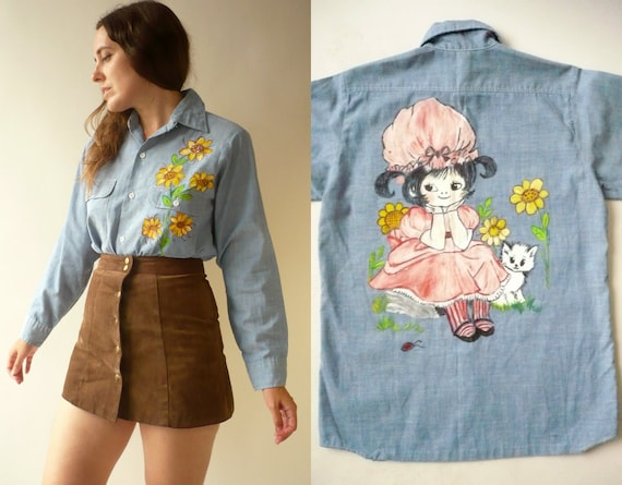 1970's Vintage Novelty Hand Painted Blue Chambray