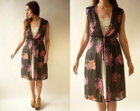 1970's Vintage Sheer Chiffon Floral Midi Dress Tun