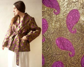 1950's 1960's Vintage Gold Metallic Lame Paisley Wrap Jacket Size M/L