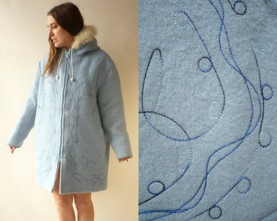 Vintage Hudson Bay Wool Eskimo Hooded Coat With Fu