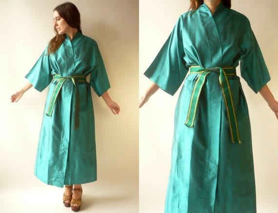 1980's Vintage Deadstock Raw Silk Emerald Green Ki