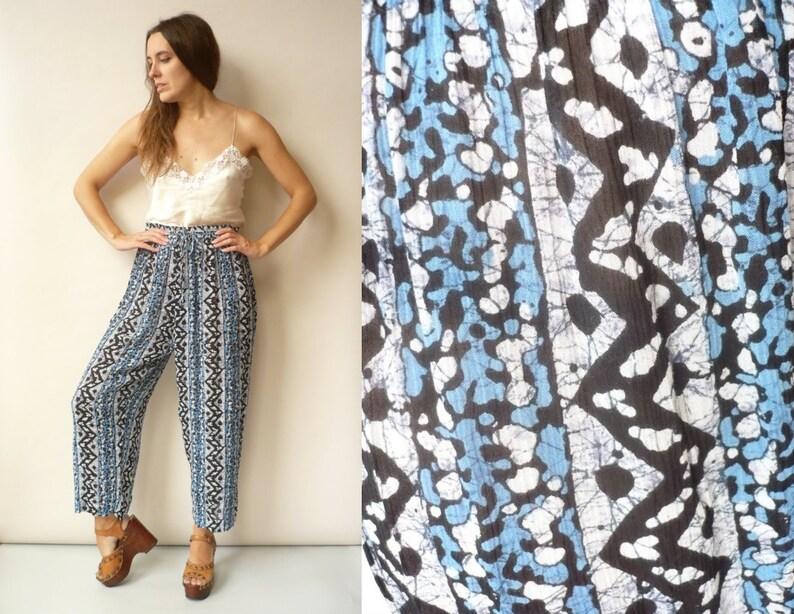 1990/'s Vintage Indian Gauze Aztec Printed Slouchy Harem Trousers Size Medium