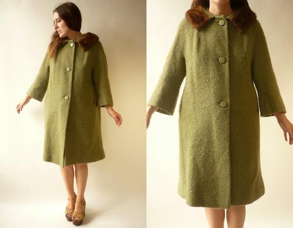 1950's Vintage Green Wool Princess Swing Coat With