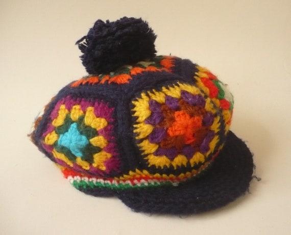 1970's Vintage Rainbow Knitted Crochet Novelty Bak