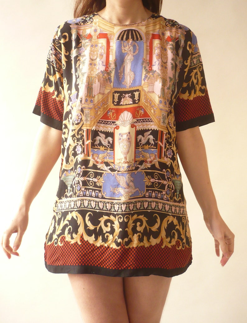 1990/'s Vintage Novelty Baroque Printed Slouchy Bohemian Top