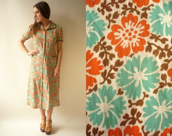 1920's 1930's Vintage Cotton Floral Workwear Print