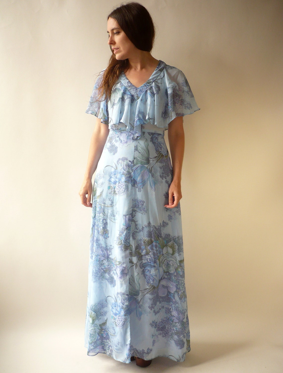 1970's Vintage Victoriana Style Floaty Floral Bohemian