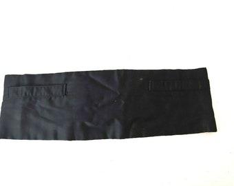 Vintage Antique 1920s Mens Black Silk Cummerbund with Pockets ~ Sold as is Rare