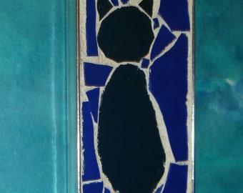 Black cat mosaic pendant with dark blue background