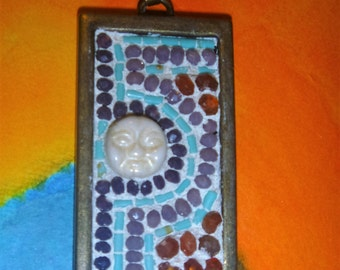 Dark and Light purple with turquiose and carnelian mosaic with face