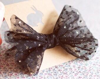 Bow tie for hair. Tulle bow elastic. Bow headband. Ponytail holder. Polka dot tulle bow. Kids hair bows. Baby hair accessory. Wedding bow.