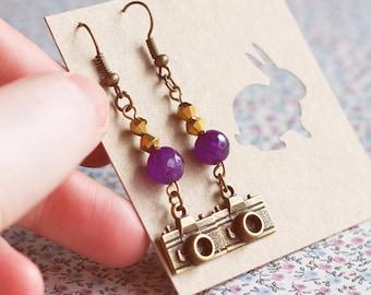 Bronze Camera Earrings.Photographer's gift.Amethyst earrings Jewelry. Steampunk earrings.Valentine gift.Hipster Earrings.Gift for her.