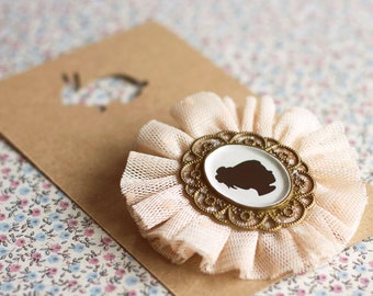 Victorian cameo silhouette Brooch.Girl Cameo silhouette brooch.Vintage Tulle brooch.Bridesmaid brooch.Victorian brooch.Stocking Stuffer.