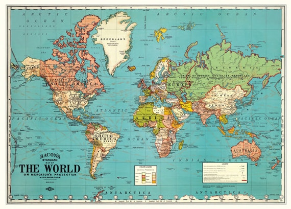 Vibrant image within vintage world map printable