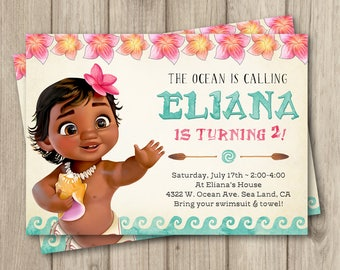 MOANA BIRTHDAY INVITATION Baby Moana Invitation Birthday Party Girl Digital 5x7