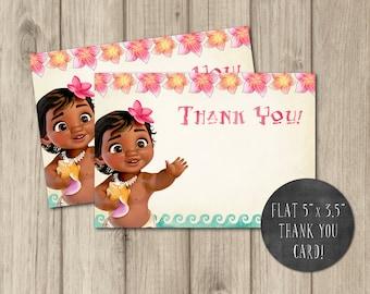 BABY MOANA THANK You Card Baby Moana Birthday Thank Printable Invitation