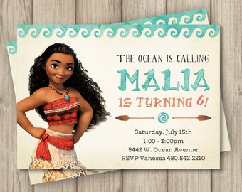 MOANA BIRTHDAY INVITATION Moana Invitation Birthday Party Digital 5x7