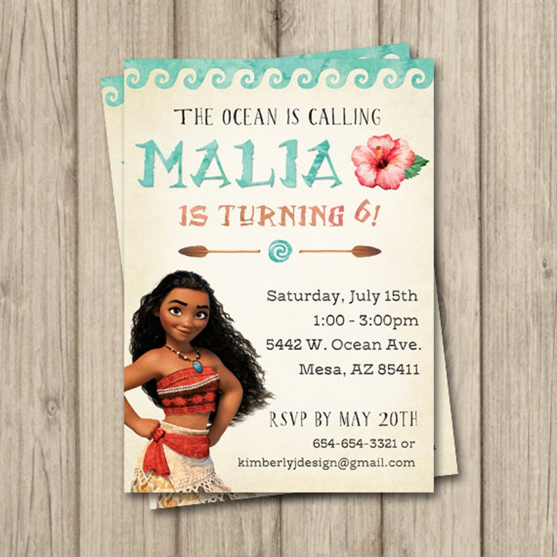 MOANA BIRTHDAY INVITATION Moana Invitation Birthday Party Digital 5x7