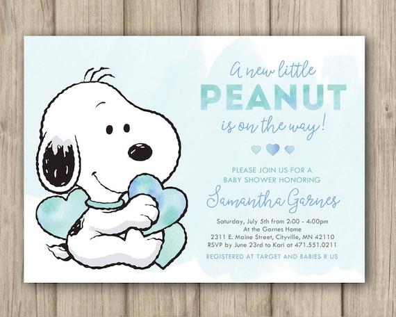 Snoopy Baby Shower Invitation Peanuts Baby Shower Invitation Etsy