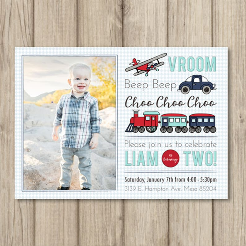 TRANSPORTATION Birthday Party Invitation Boy 2nd