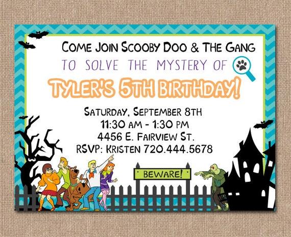 Scooby Doo Birthday Invitation Scooby Doo Monster Party Boy Etsy