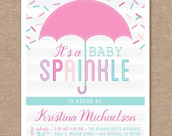 Printable BABY SPRINKLE Invitation - Baby Shower - Pink - Baby Girl - BS2