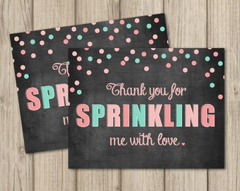 BABY SPRINKLE Thank You Card - Flat & Folded A2 Sized - Instant Download