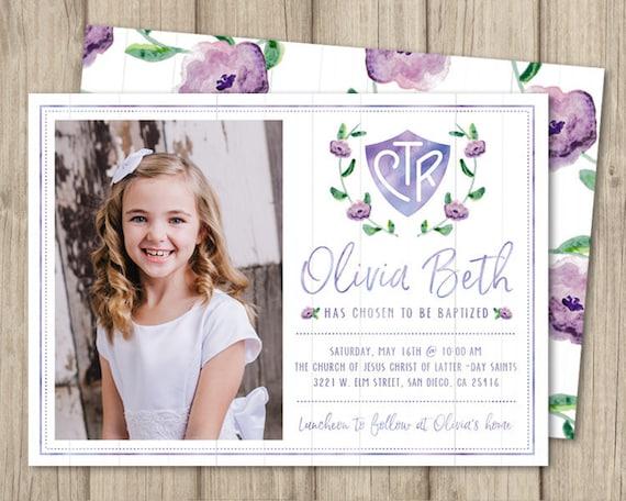 INVITACIÓN de bautismo mormón invitación de bautismo de niña | Etsy