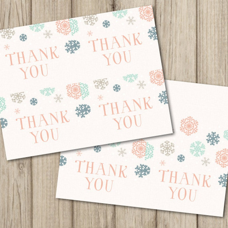 Winter Baby Shower THANK YOU Cards Flat /& Folded A2 Sized Instant Download