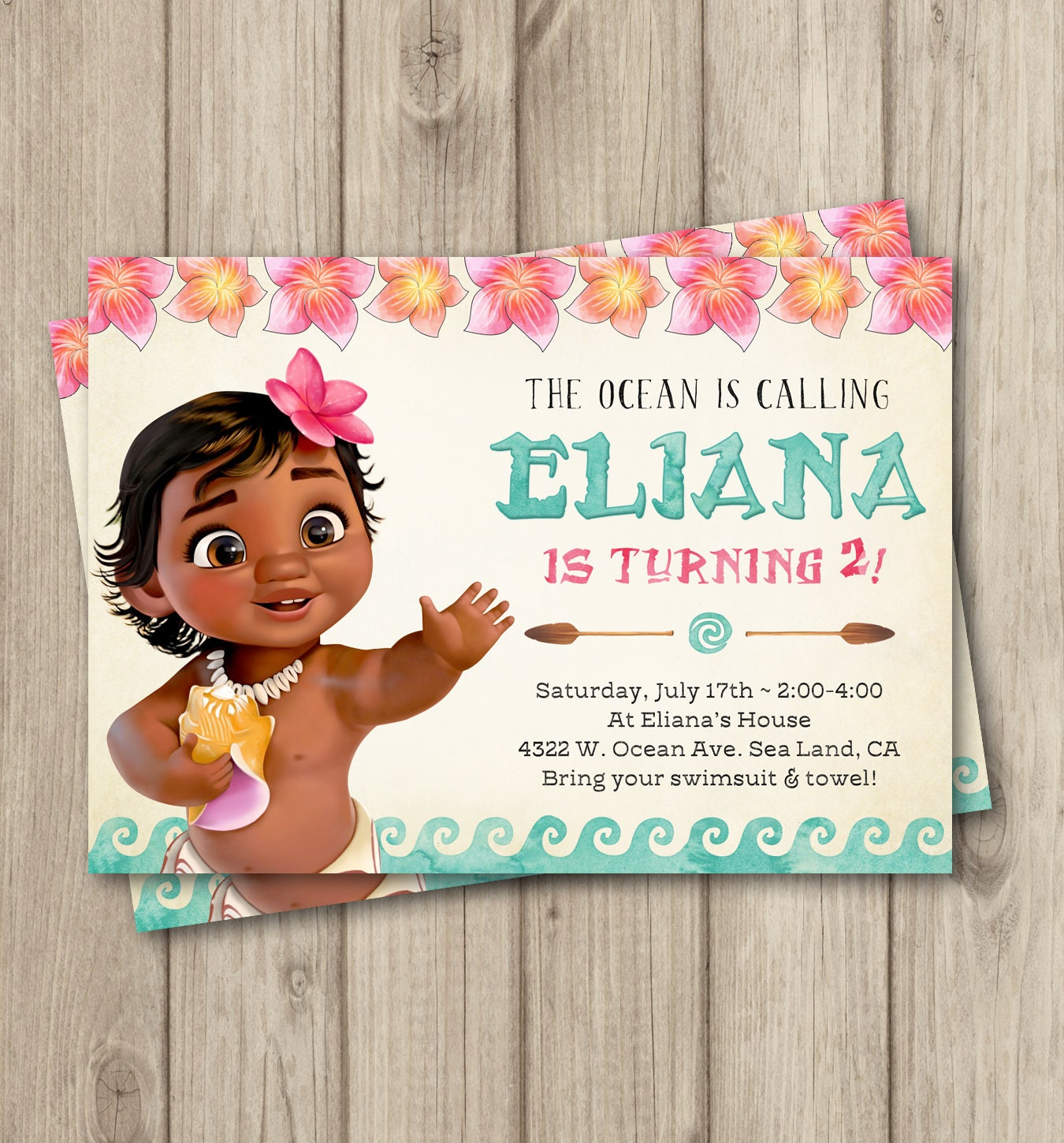 MOANA BIRTHDAY INVITATION Baby Moana Invitation Baby Moana