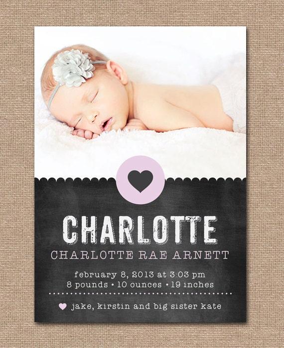 baby announcement birth announcement chalkboard heart