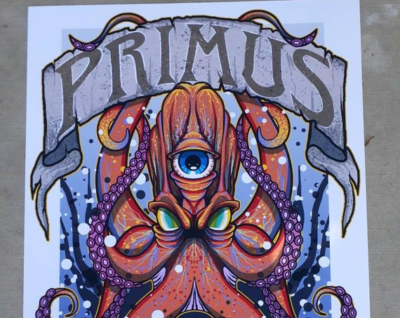 Primus 3 Eyed Octopus Limted Edition Concert Poster Music Funk Groove Metal