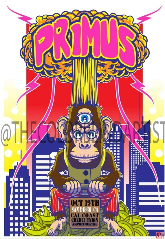 Primus Concert Poster Fan Art Mind Blown Monkey Limited Edition Free Continental US Shipping