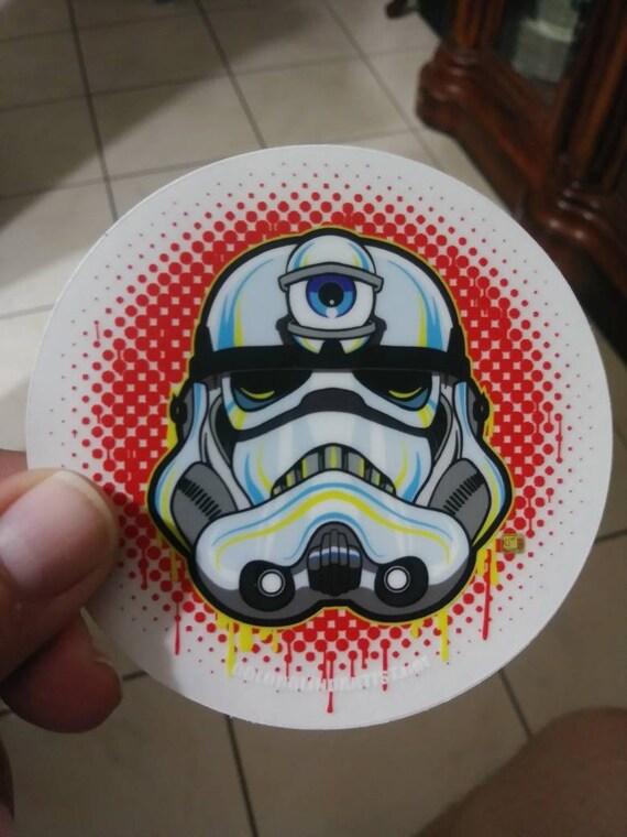 "3 eye Storm Trooper 3.5"" Clear Vinyl Stickers Star Wars"