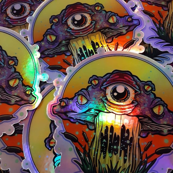 Holographic Trippy Mushroom Stickers