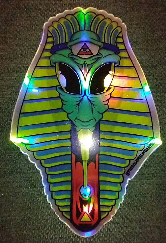 Trippy Holographic Alien Egyptian Stickers
