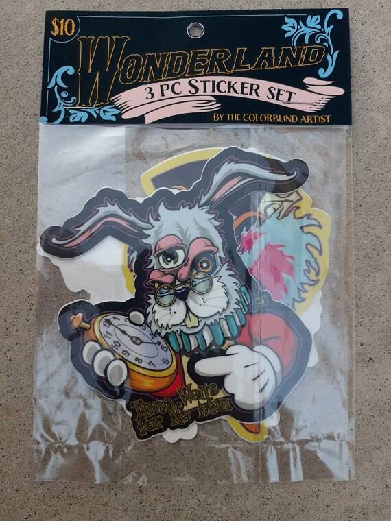 Trippy Wonderland 3 pc sticker pack. Indpired by Alice in Wonderland
