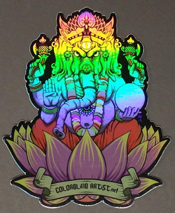 Trippy Holographic Third Eye Ganesh Sticker