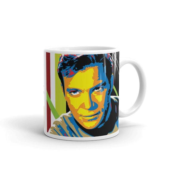 Captain Kirk William Shatner Pop Art Coffee Mug