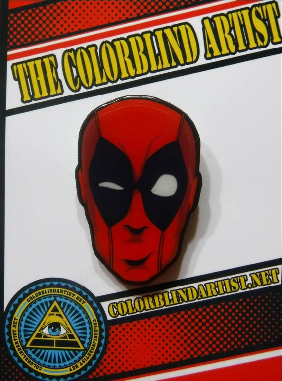 Deadpool handmade lapel pin with metal clasp back