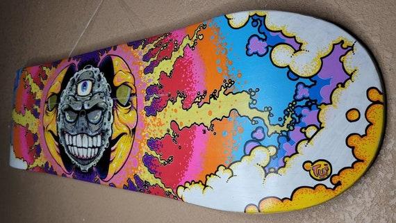 Original Hand Painted Skate deck Splitting Sun